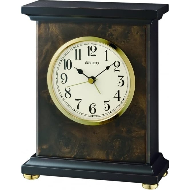 Seiko Clocks Seiko Wooden Quartz Battery Mantle Clock QXE056B