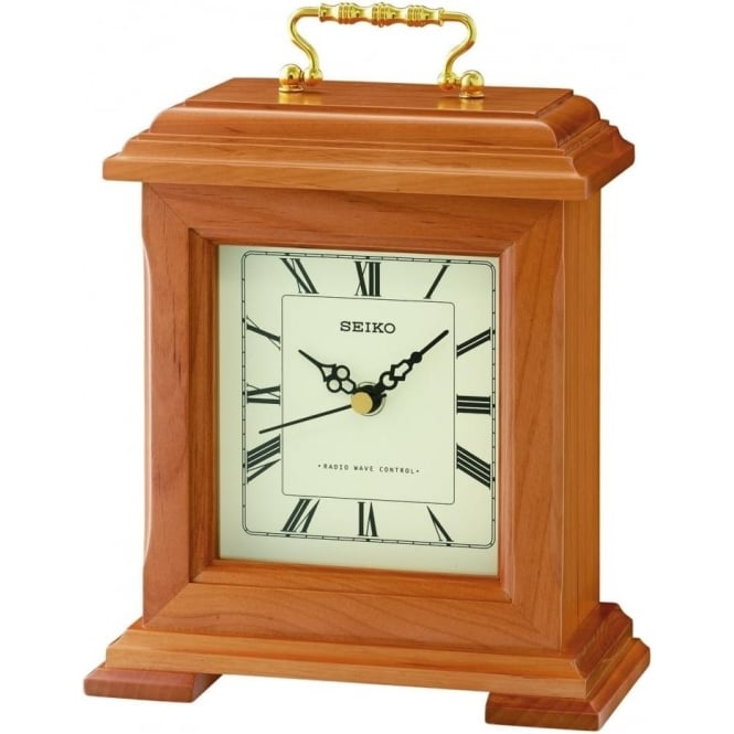 Seiko Clocks Seiko Wooden Radio Controlled Quartz Mantle Clock QXR304B