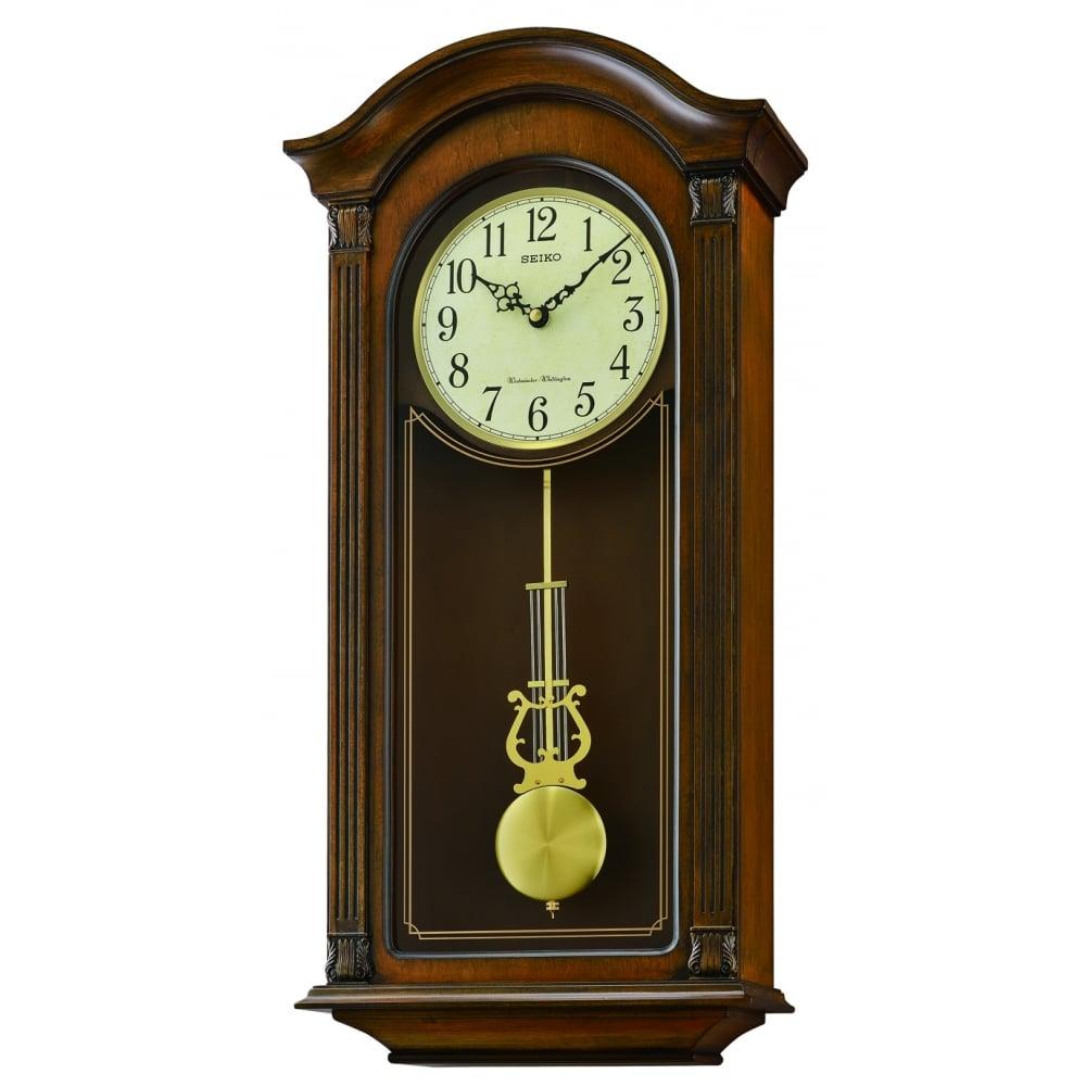 Seiko Wooden Westminster Chime Quartz Wall Clock Qxh066b