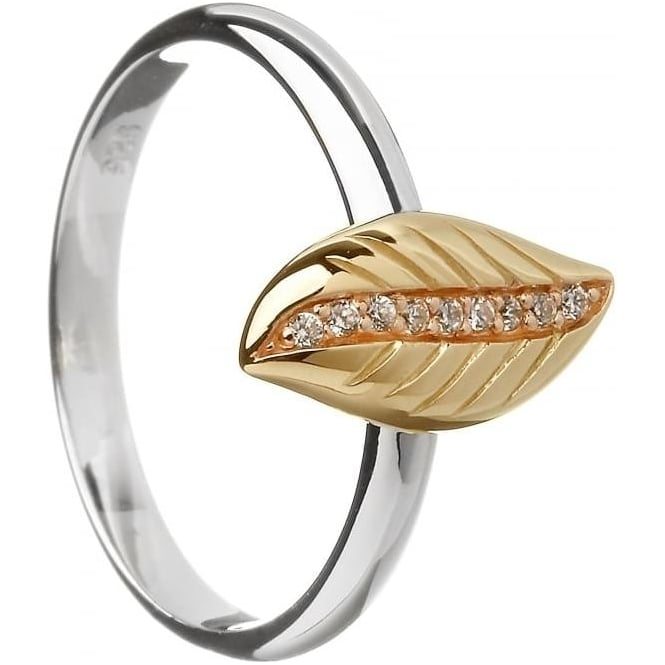 House of Lor Silver and Irish Gold Cubic Zirconia Leaf Ring H-20007