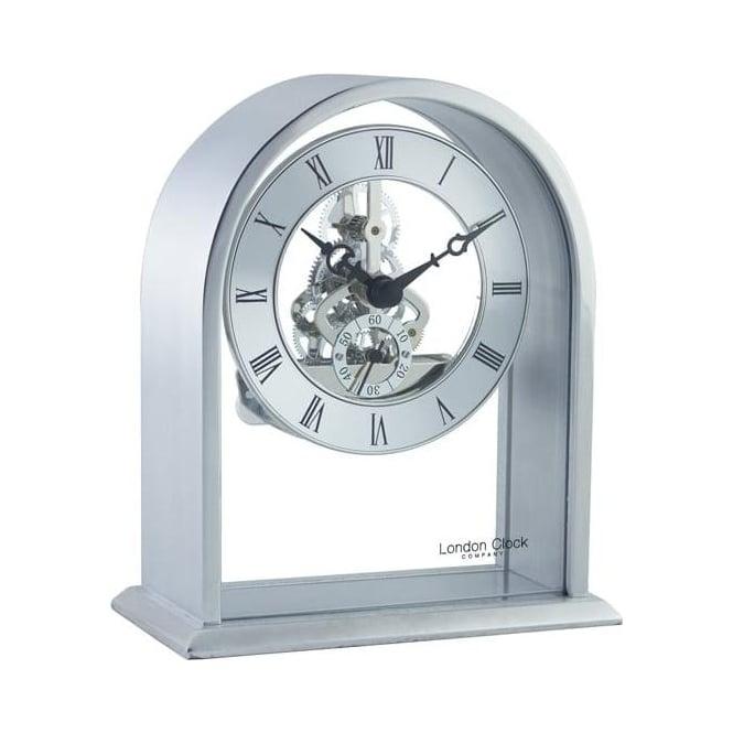London Clock Company Silver Coloured Skeleton Quartz Battery Mantle Clock 03127