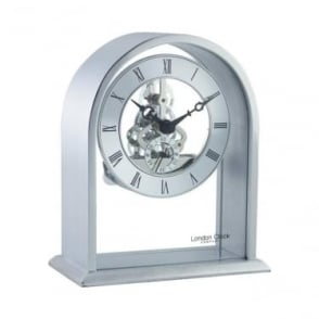 Silver Coloured Skeleton Quartz Battery Mantle Clock 03127