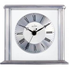Silver Finish Acctim Quartz Battery Mantle Clock Hamilton 36247