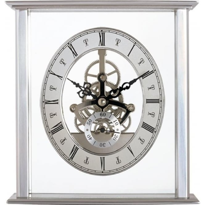 Acctim Silver Finish Acctim Quartz Battery Mantle Clock Malvern 36507