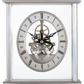 Silver Finish Acctim Quartz Battery Mantle Clock Malvern 36507