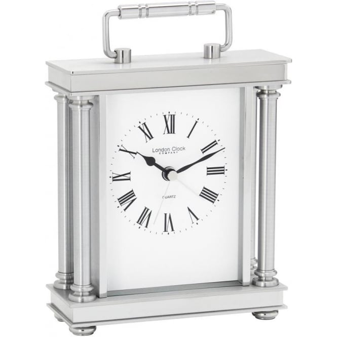 London Clock Company Silver Finish Battery Carriage Clock with Alarm 03069