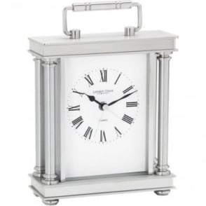 Silver Finish Battery Carriage Clock with Alarm 03069