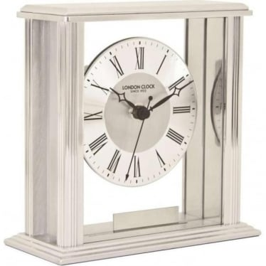 Silver Finish Battery Mantle Clock 06399