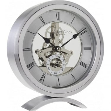 Silver Finish Battery Skeleton Mantle Clock, Height 16cm. 04113
