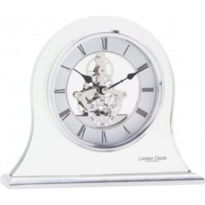 Silver Finish Glass Skeleton Mantle Clock 03083