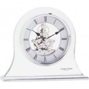 Silver Finish Glass Skeleton Mantle Clock 03083