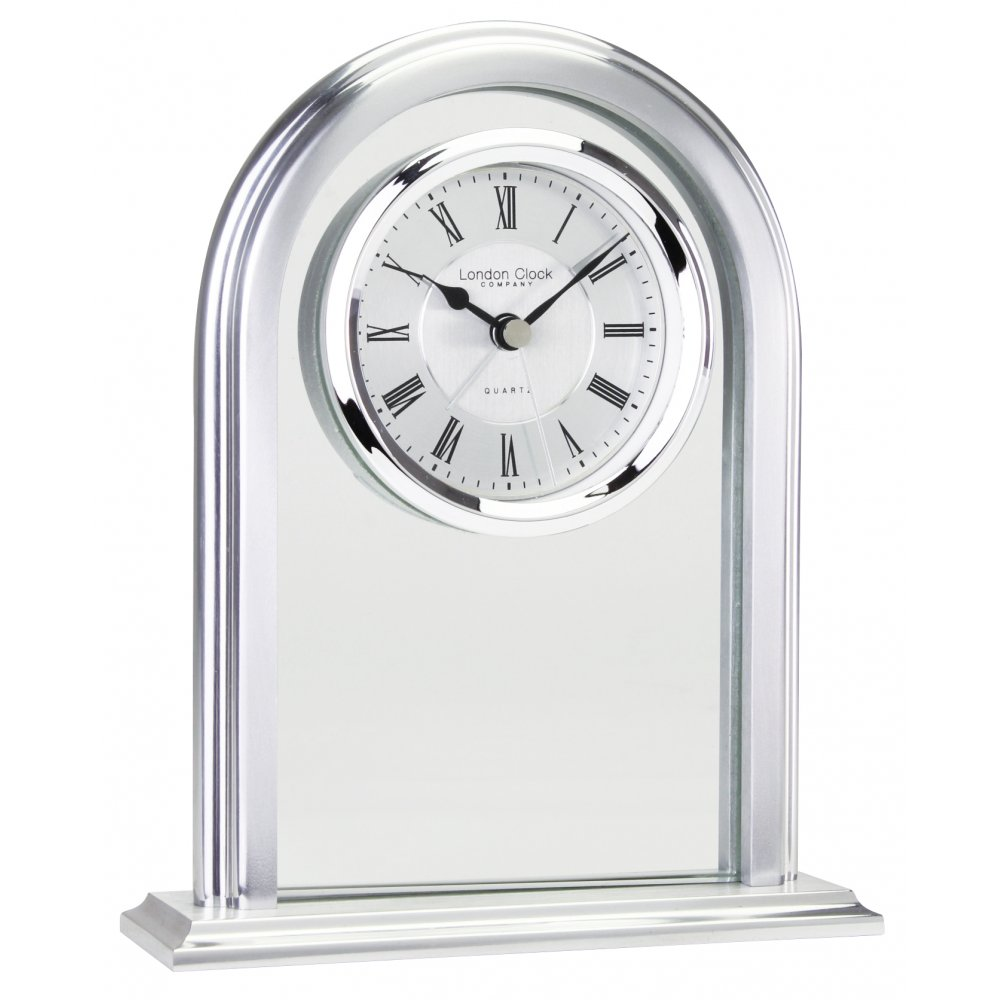 Silver Finish Battery Mantle Clock For Lounge Or Living
