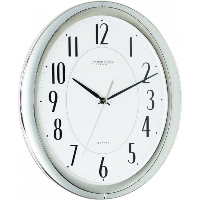 london clock company silver finish oval quartz wall clock