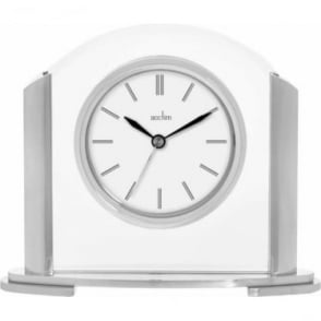 Silver Finish Quartz Battery Mantle Clock - Riccia 36847