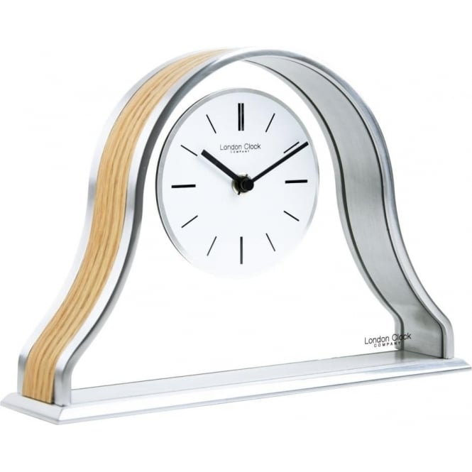 London Clock Company Silver Finish Quartz Battery Mantle Clock & Wood Centre 03147