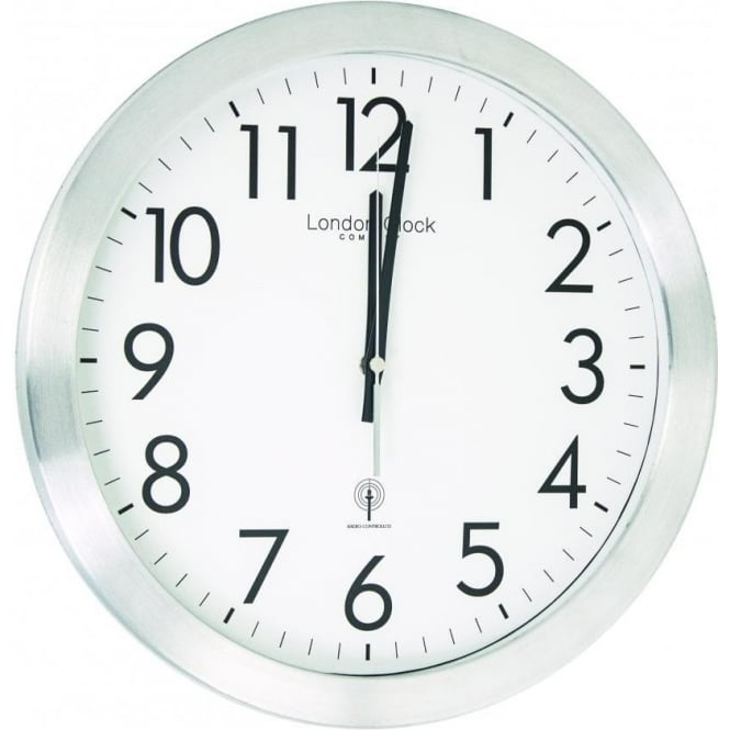 london clock company silver finish radio controlled round