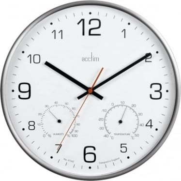 Silver Finish Round Wall Clock with Temperature & Humidity 29147