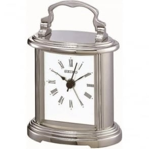 Silver Finish Seiko Carriage Clock with Alarm 10cm QHE109S