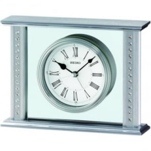 Silver Finish Seiko Mantle Clock QHE048S