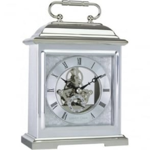 Silver Finish Skeleton Movement Battery Mantle Clock 04107