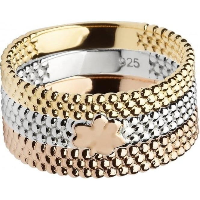 House of Lor Silver & Gold Plated 3 Piece Bead Ring