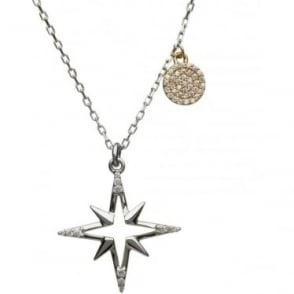 Silver & Irish Gold Cubic Zirconia Star Pendant H4-0030