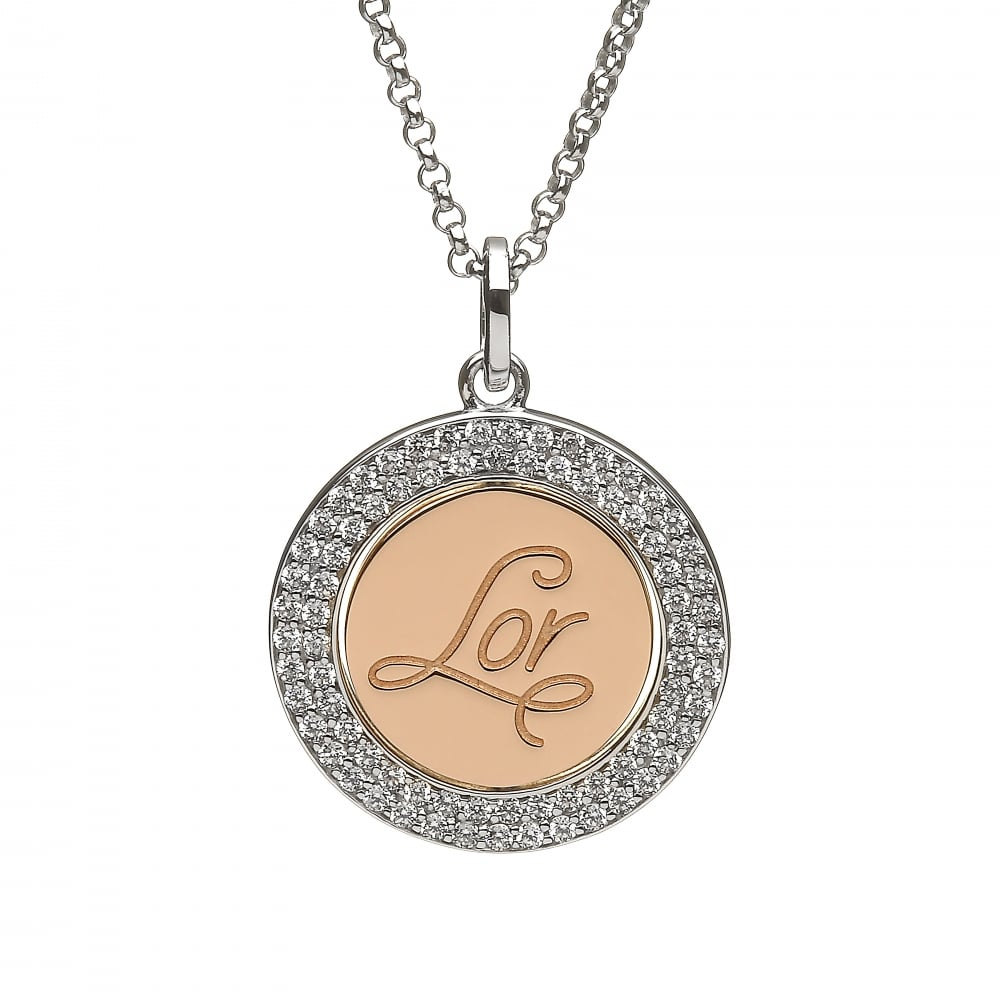 House of lor silver irish gold lor disc pendant h 40024 silver amp irish gold lor disc pendant mozeypictures Images