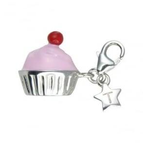 Silver Pink Cupcake Charm SCH177