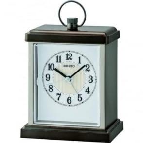 Silver Tone Seiko Quartz Battery Carriage Mantle Clock QHE148N