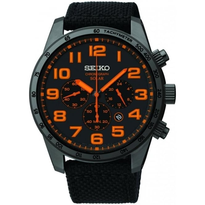 Seiko Watches Solar Chronograph Watch with Fabric Strap SSC233P9