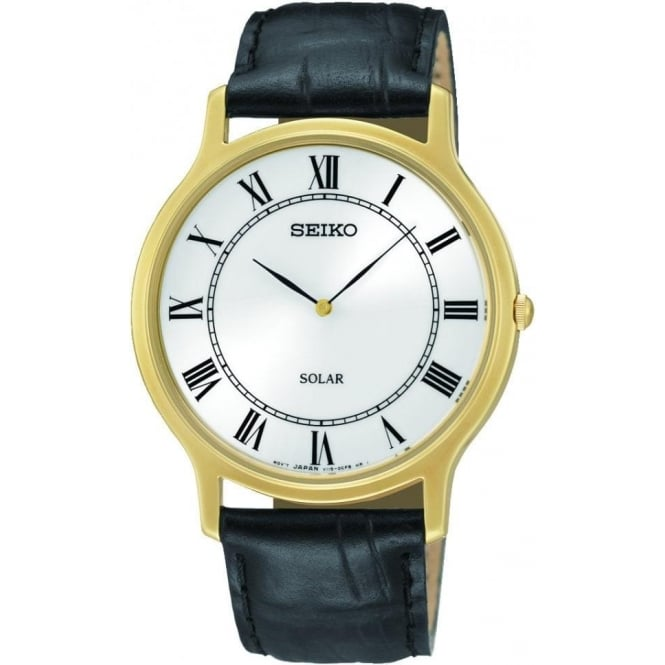 Seiko Watches Solar Gents Gold Finish Watch on Leather Strap. SUP878P9