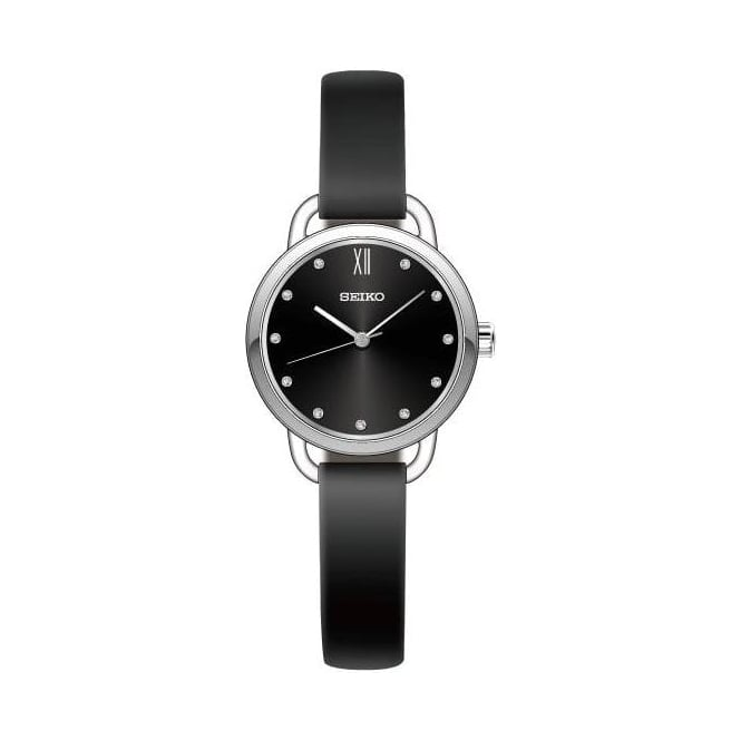 Solar Ladies Stainless Steel Watch on Leather Strap SUR699P1