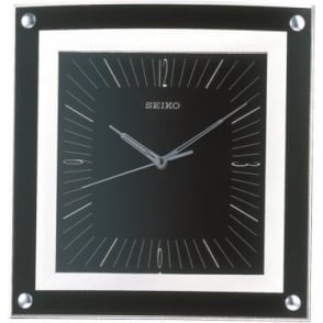 Square Black Quartz Wall Clock 32cm QXA330K
