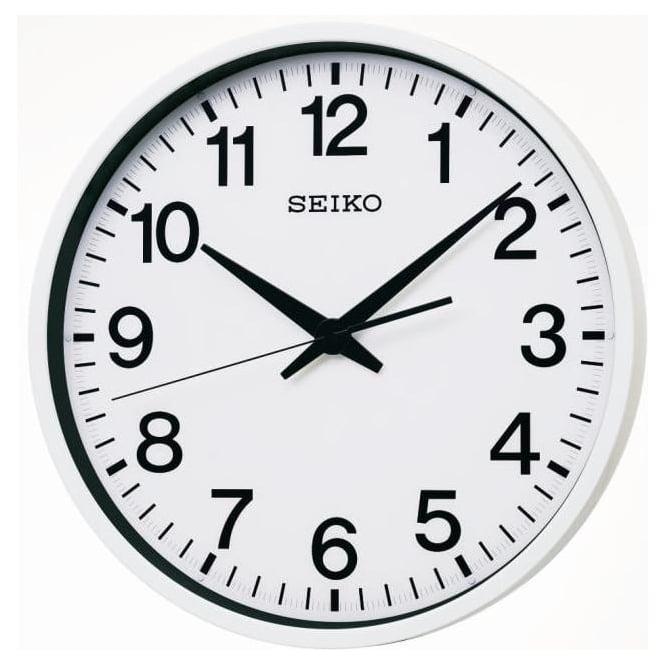 stainless steel seiko radio controlled gps satellite wall clock qxz001w. Black Bedroom Furniture Sets. Home Design Ideas