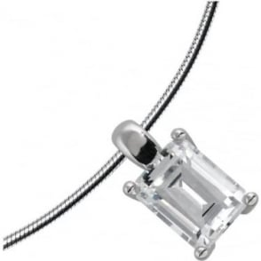 Sterling Silver Pendant with Emerald Cut Cubic Zirconia