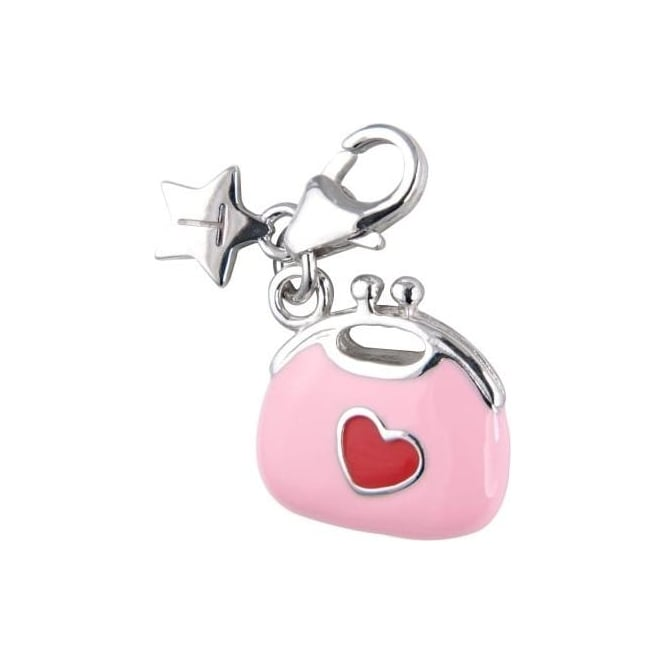 Tingle London Sterling Silver Pink Purse Charm with Red Heart SCH183