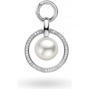 Sterling Silver Simulated Pearl and Cubic Zirconiua Pendant