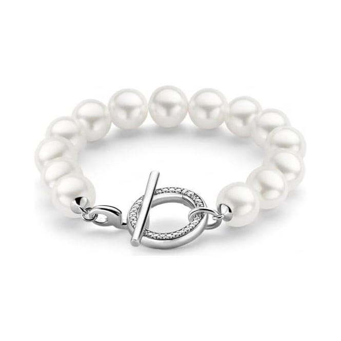 Sterling Silver Simulated Pearl & Cubic Zirconia Bracelet 2430