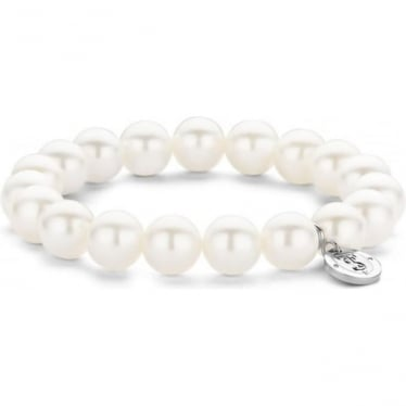 Sterling Silver Simulated White Pearl Bracelet 2524PW