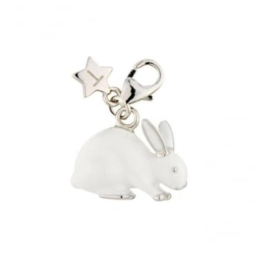 Sterling Silver White Enamel Rabbit Charm SCH219