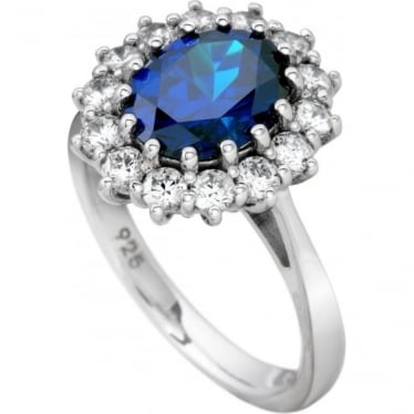Sterling Silvert Cubic Zirconia Cluster Ring