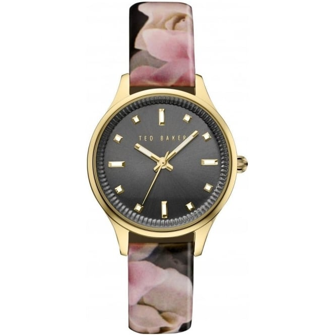 Ted Baker Watches Ted Baker Gold Tone Quartz Watch on Floral Strap TE10030742