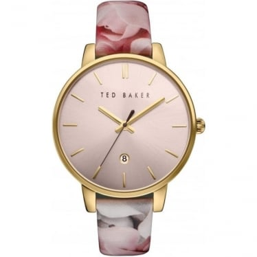 Ted Baker Rose Gold Tone Quartz Watch on Floral Strap TE10030695
