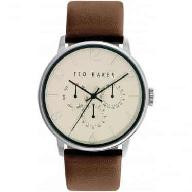 Gents Stainless Steel Watch on Leather Strap TE10023493