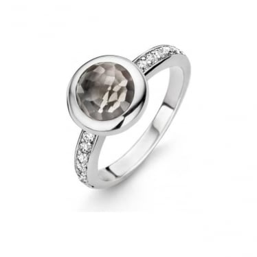 Sterling Silver Translucent Grey Ring 12011TG