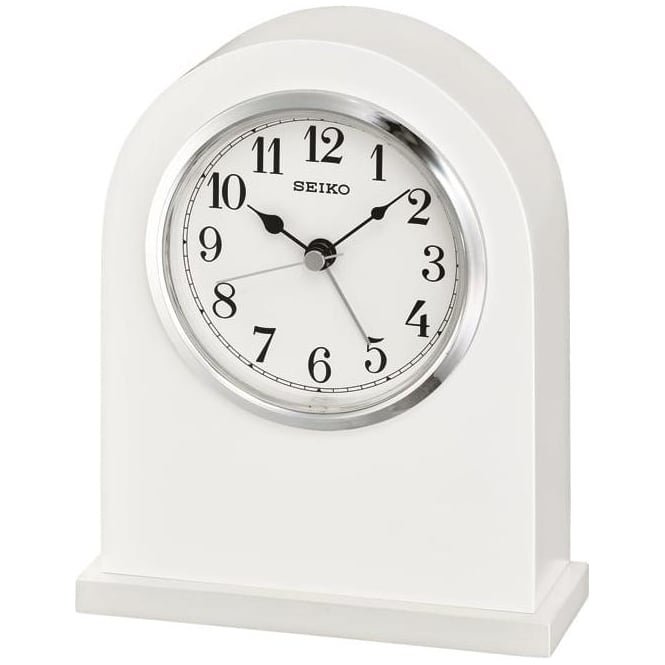 Seiko Clocks White Battery Mantle Clock with Clear Dial Height 16cm QXE049W