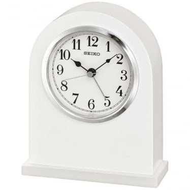 White Battery Mantle Clock with Clear Dial Height 16cm QXE049W