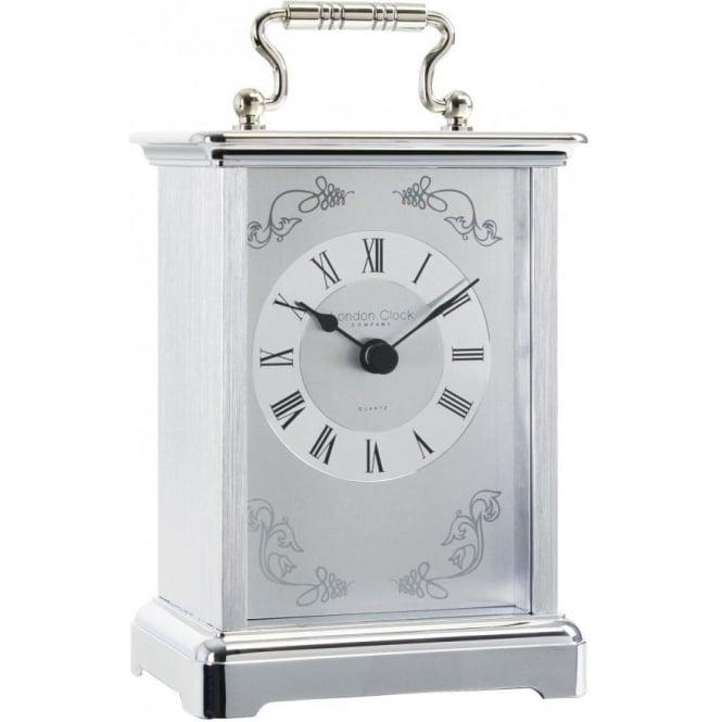 London Clock Company White Metal Finish Battery Carriage Clock 03001
