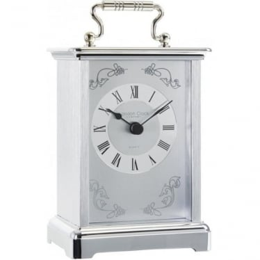 White Metal Finish Battery Carriage Clock 03001