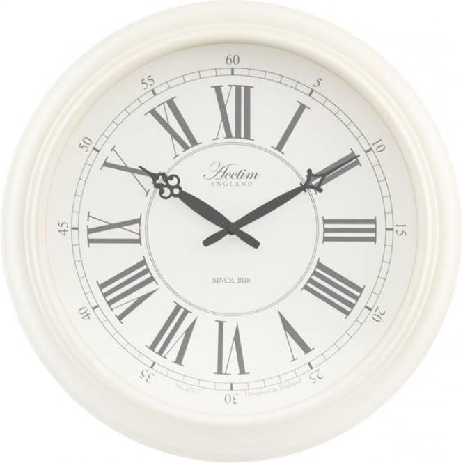acctim white round acctim quartz battery wall clock